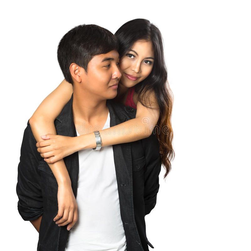 Happy young asian couple royalty free stock photos