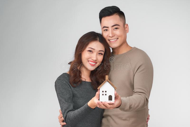 Happy young asian couple with new home concept. Happy young asian couple with new home concept stock photo