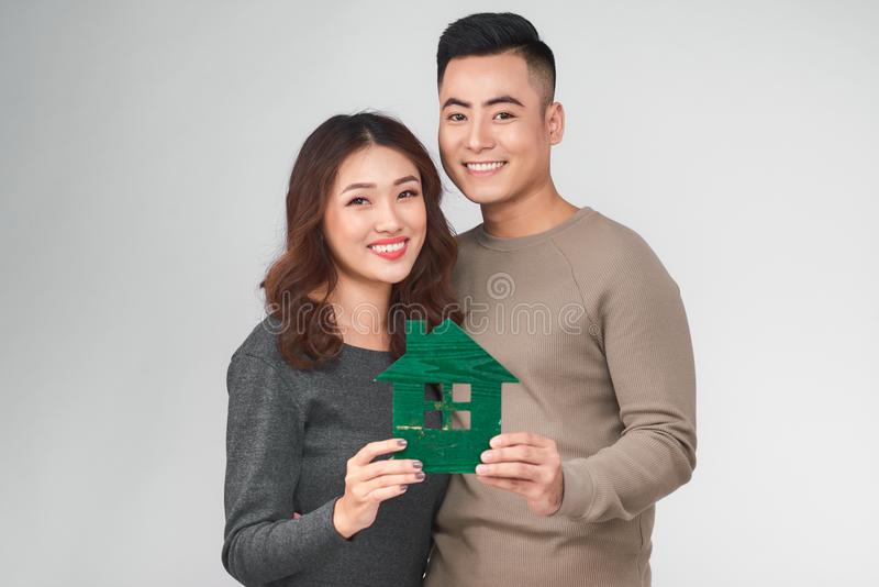 Happy young asian couple with new home concept. Happy young asian couple with new home concept royalty free stock photos