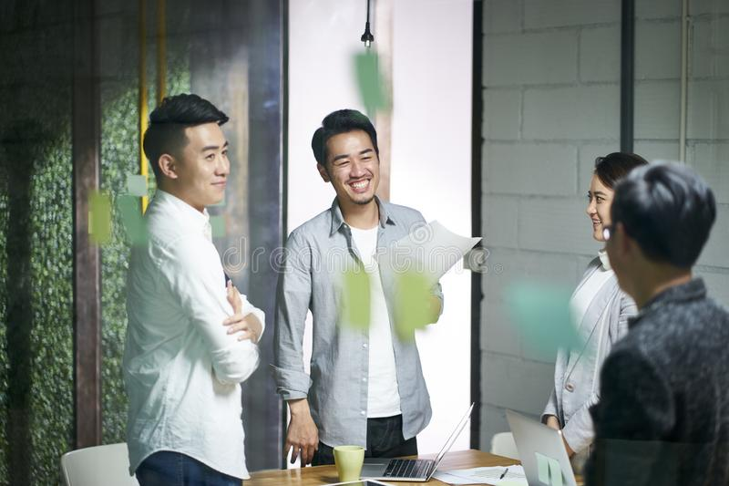 Young asian business team people meeting in office stock photos