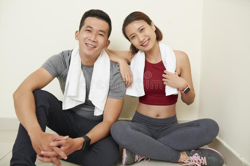 Young Asian fit couple stock photos