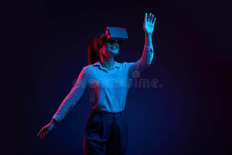 Dancing in virtual reality glasses royalty free stock photo