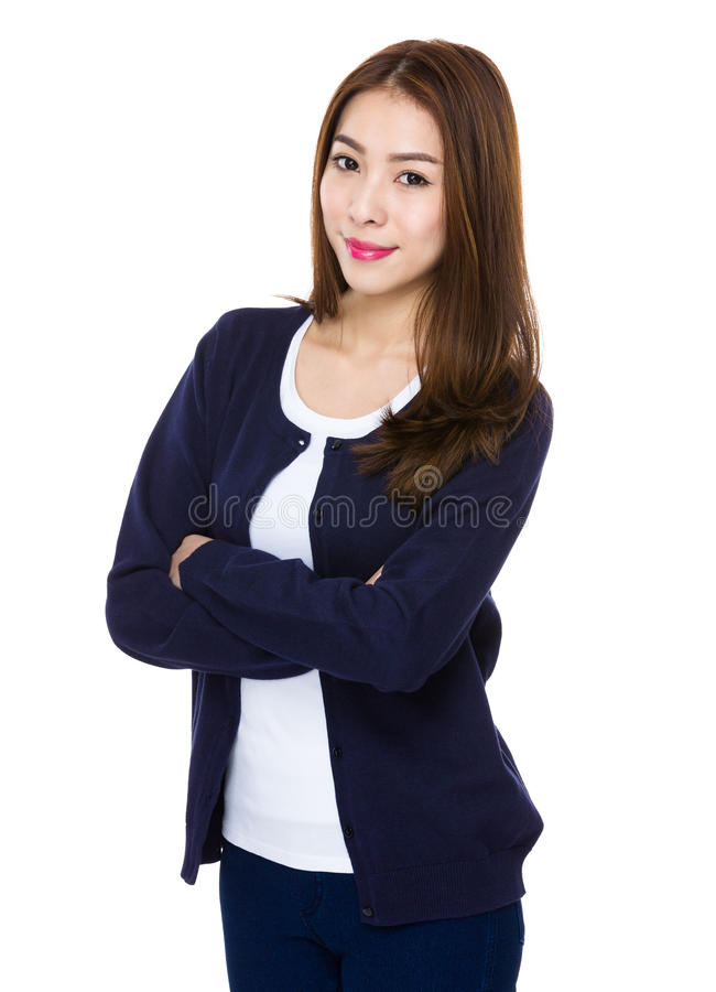 Happy young asian woman stock photo