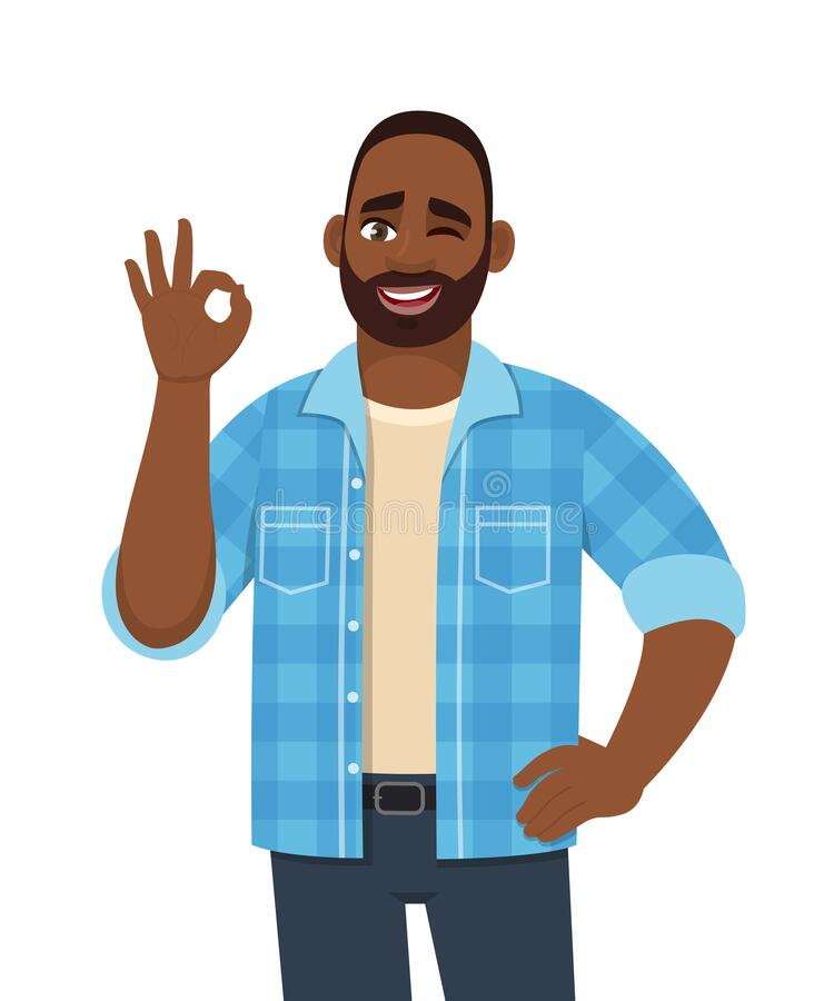 Free Happy Young Bearded African Man Showing Okay, Cool Gesture With Winking Eye. Trendy Successful Black Person Making OK, Good Symbol Stock Images - 169992524