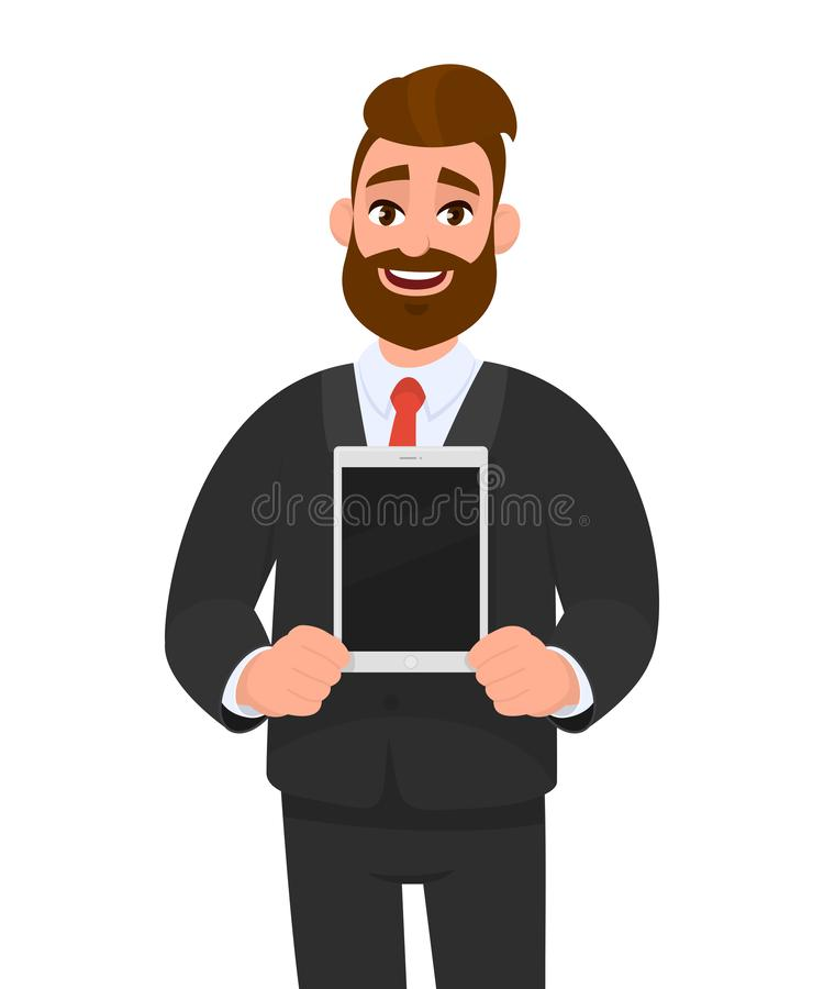 Happy young bearded business man showing/holding blank screen of new digital tablet computer in hands. Modern technology, latest. royalty free illustration
