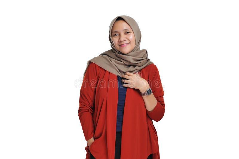Happy of young beautiful Asian entrepreneur woman wearing hijab smiling stock image