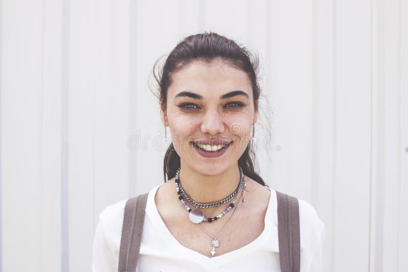 Happy young beautiful woman looking camera royalty free stock photos