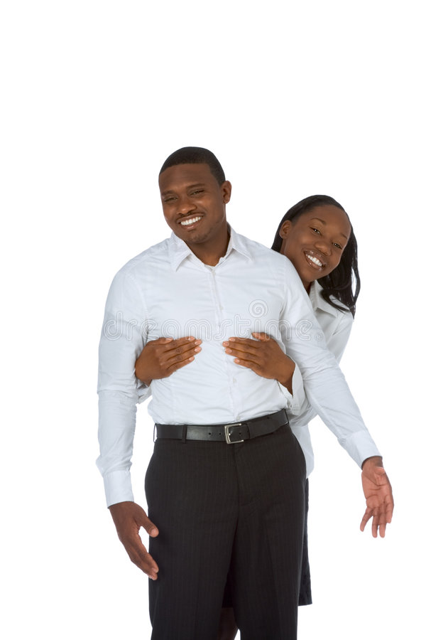 Happy young black couple stock photo