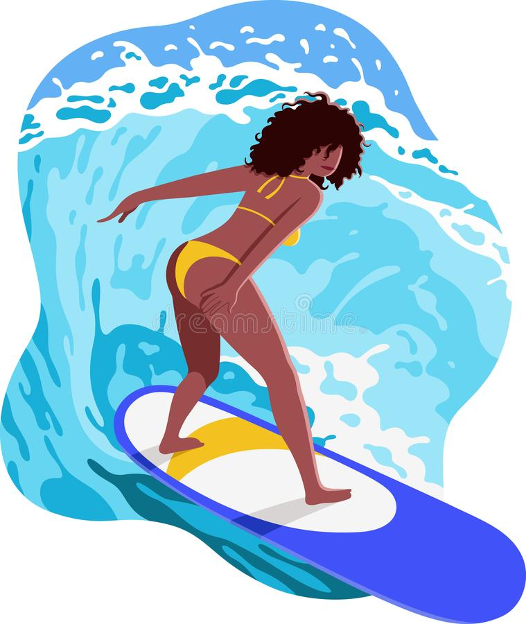 Happy young black woman surfer riding big waves on blue surfboard. Summer illustration with beautiful wave rider with curly hair vector illustration