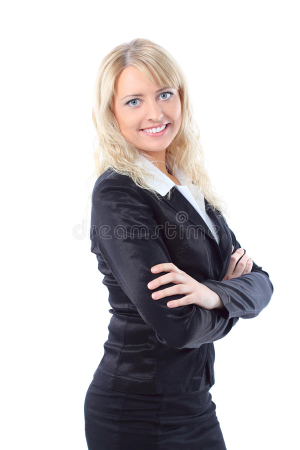 Happy young blond business woman smiling stock image