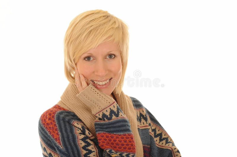 Happy young blond woman. Portrait of happy young blond woman isolated on white background stock image