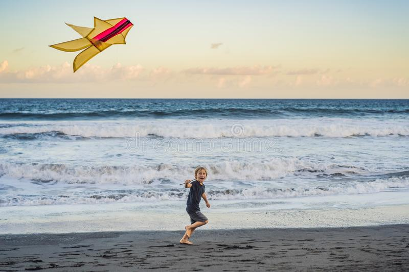 Happy young boy flying kite on the beach at sunset royalty free stock photography