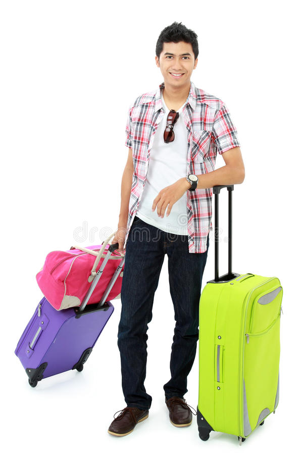 Happy young boy going on vacation royalty free stock photo