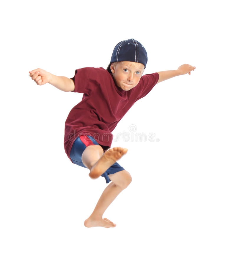 Happy Young Boy Jumping stock photography