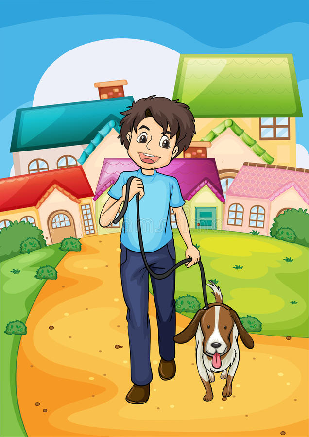 Download A Happy Young Boy Walking With His Pet Stock Vector - Illustration of outside, bushes: 38389780