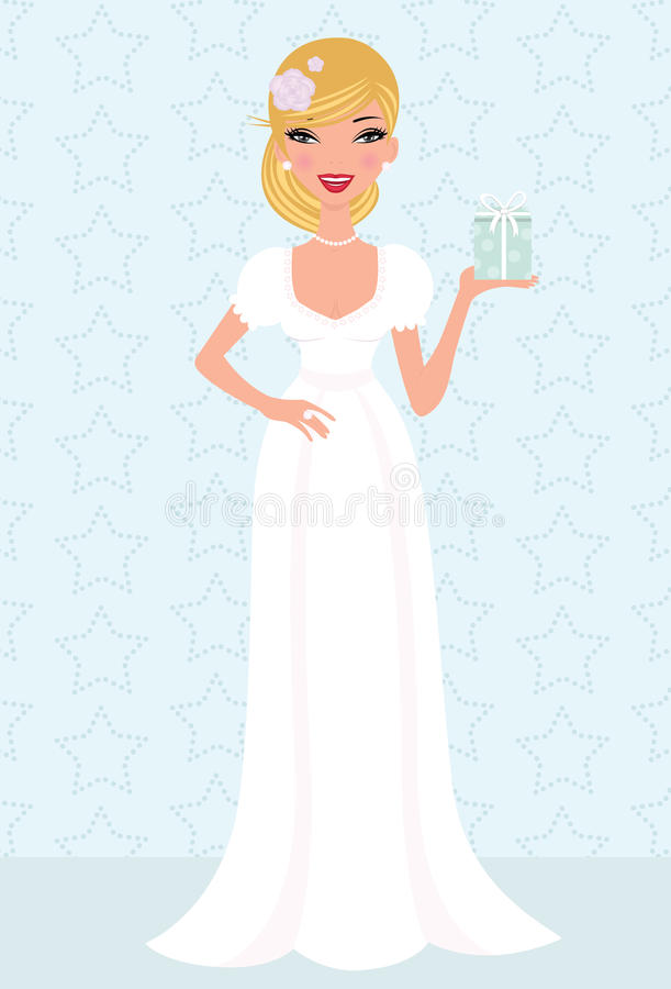 Happy young bride posing with a gift box in her ha stock illustration