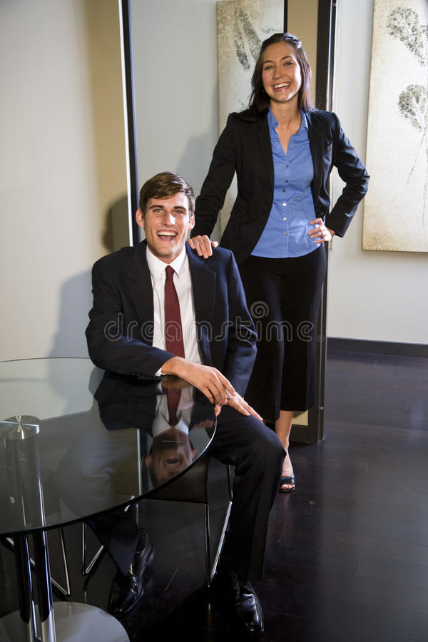 Happy young business colleagues royalty free stock image