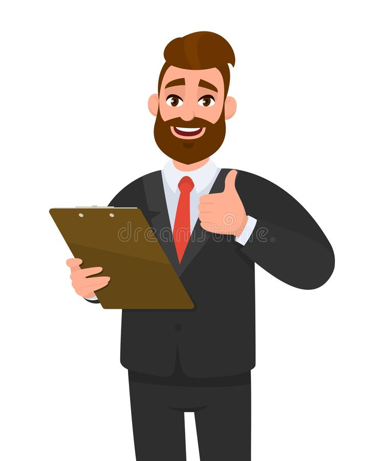 Happy young business man wearing a suit holding clipboard and making or showing thumbs up gesture or sign. Person keeping the file. Pad in hand. Male character vector illustration