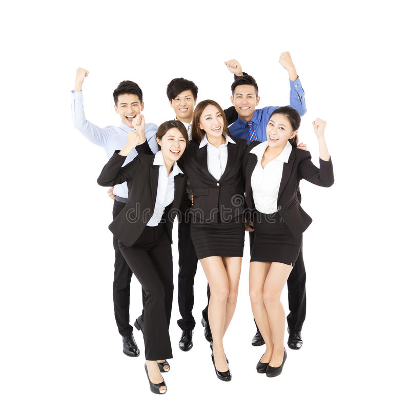 Happy Young Business team with successful gesture stock photos