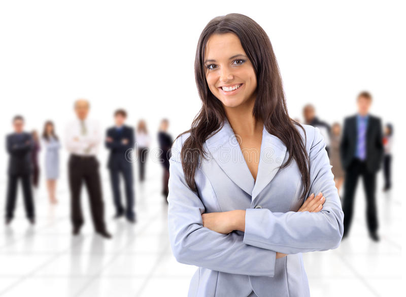 Happy young business woman stock images