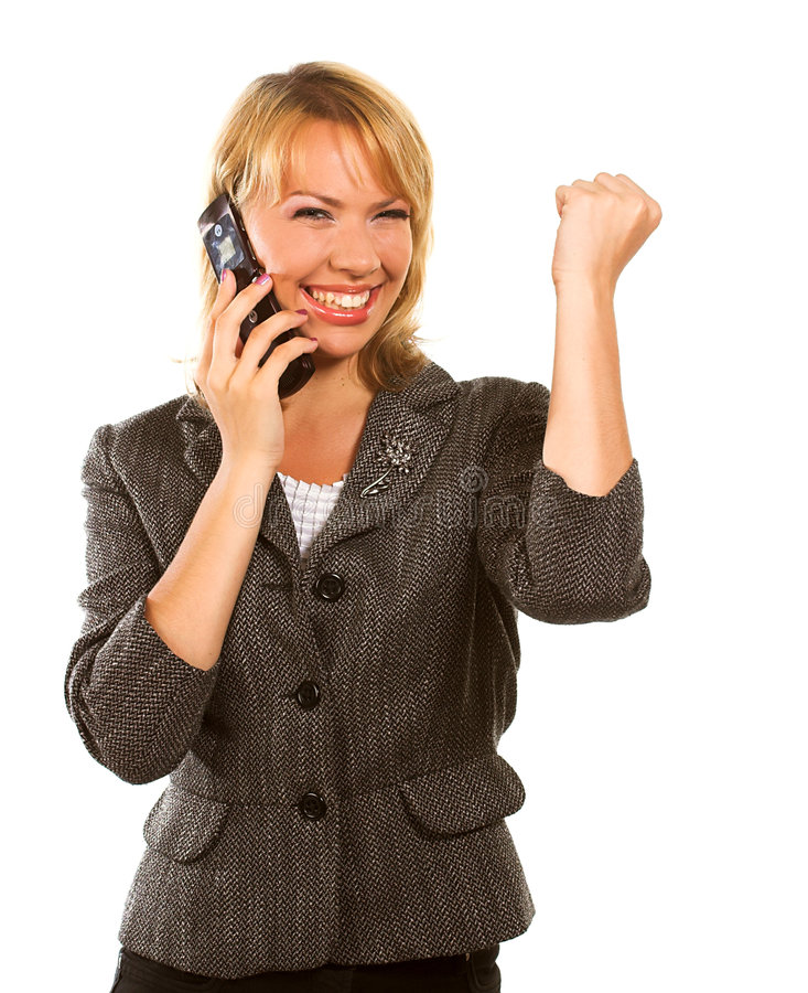 Happy young business woman royalty free stock photos