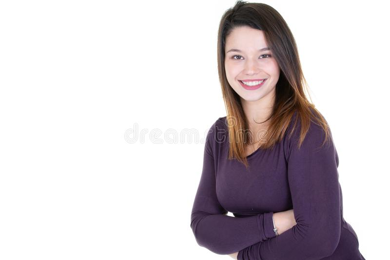 Happy young business woman posing isolated over white copy space wall background royalty free stock photography