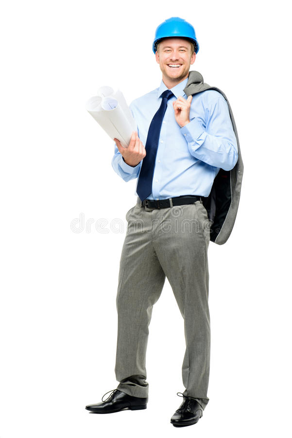 Happy young businessman architect on white background stock images