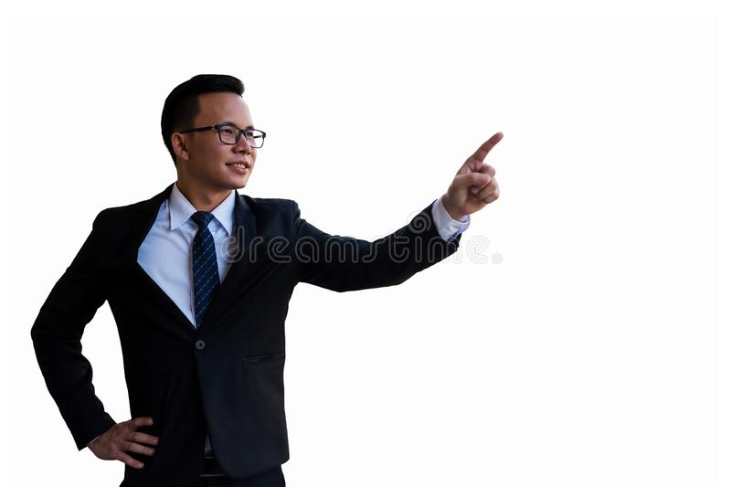 Happy young businessman isolated on white royalty free stock photos