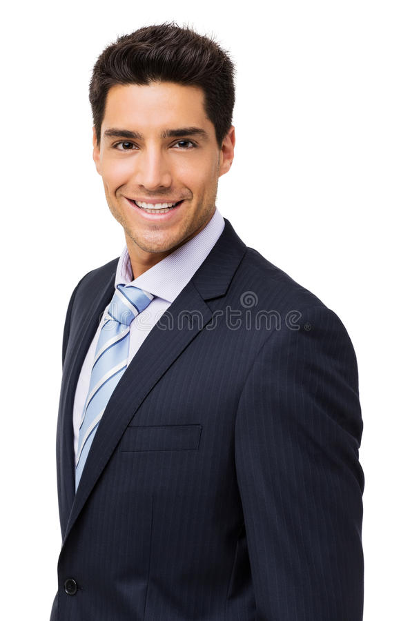 Happy Young Businessman Over White Background stock image