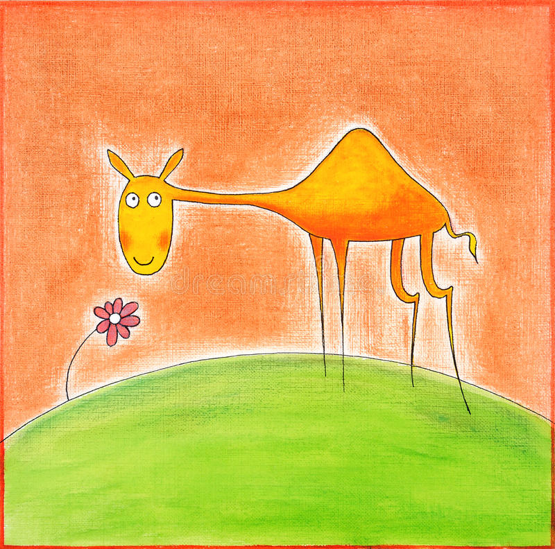 Happy Young Camel, Child S Drawing, Watercolor Painting Royalty Free Stock Photography