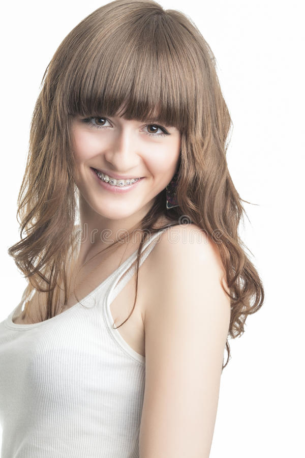 Happy Young Caucasian Girl With Brackets stock images