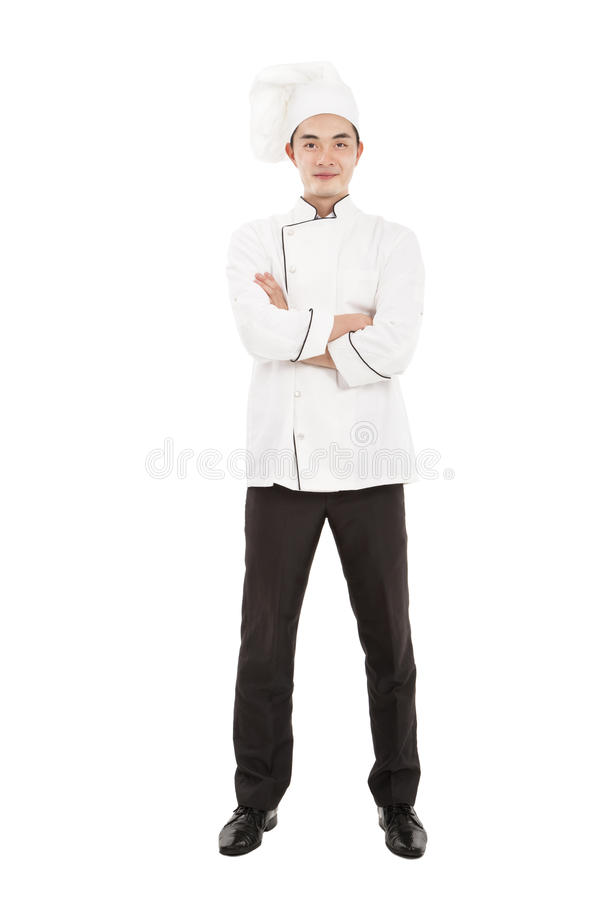 Happy young asian chef. Happy young chef isolated on white stock images