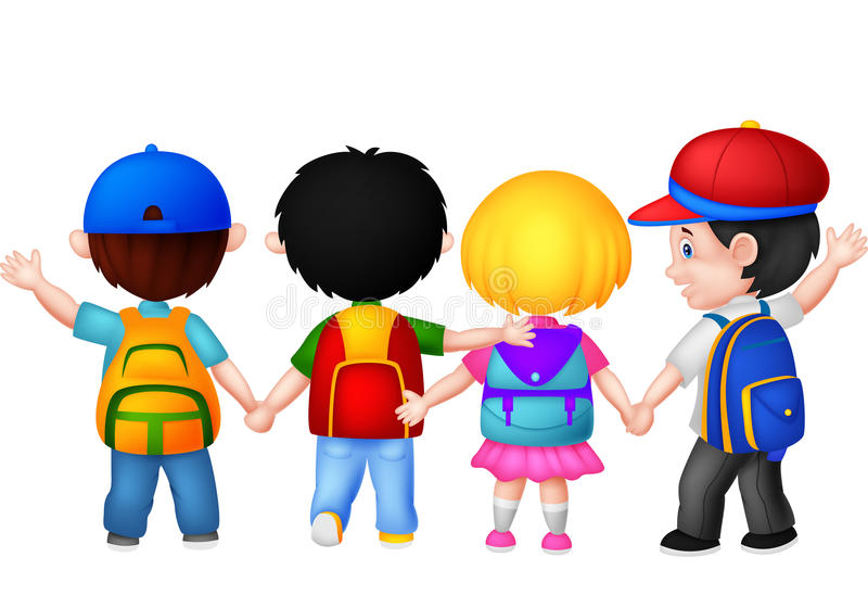 Happy young children cartoon walking together vector illustration
