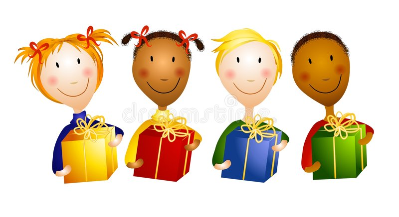 Happy Young Children Holding Gifts stock illustration