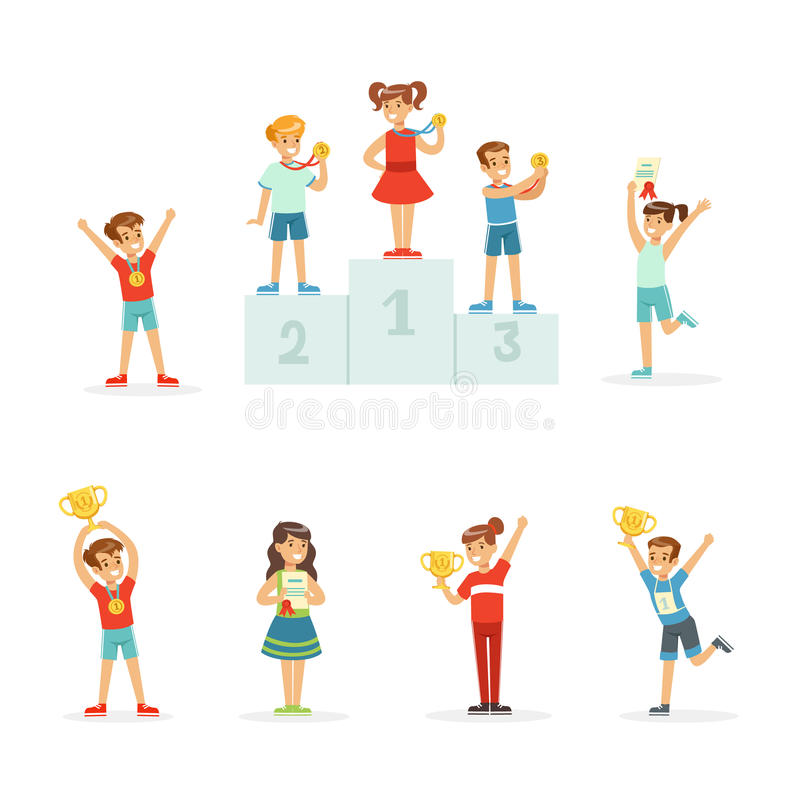 Happy young children holding their golden trophies, set for label design. Cartoon detailed colorful Illustrations stock illustration