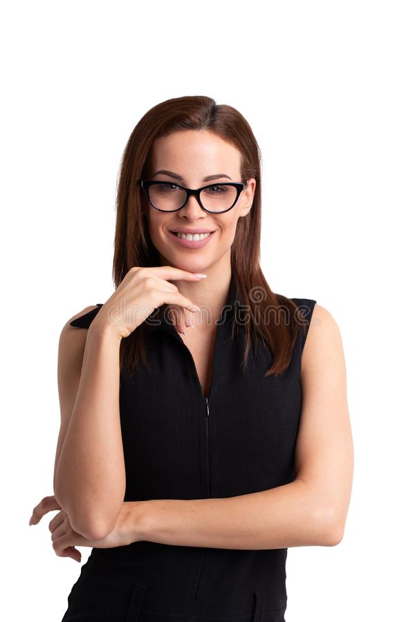Happy young confident businesswoman portrait, isolated royalty free stock photos