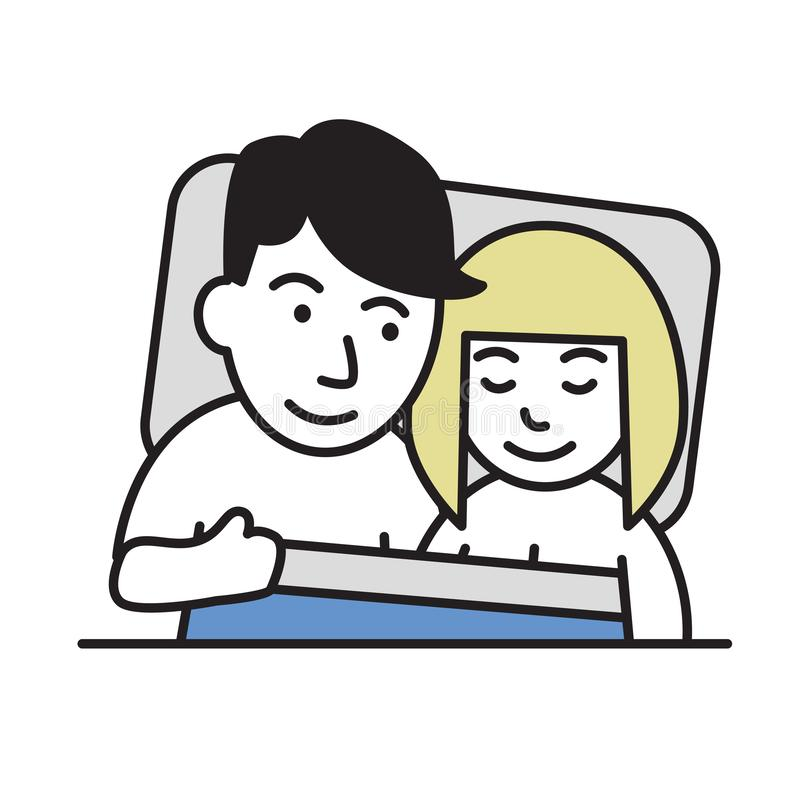 Happy young couple in bed. Cartoon design icon. Flat vector illustration. Isolated on white background. stock illustration