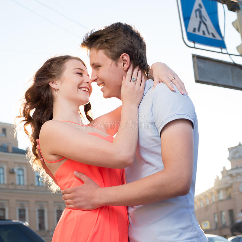 Happy young couple at the date stock photos