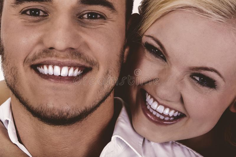 Happy young couple getting fun. royalty free stock photography