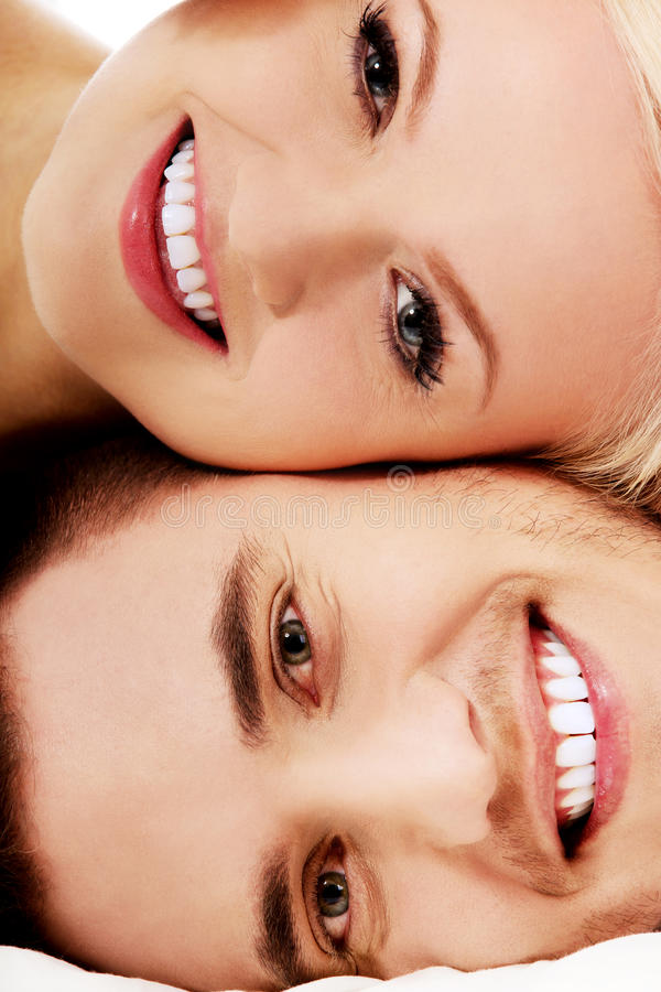 Happy young couple getting fun. stock photography