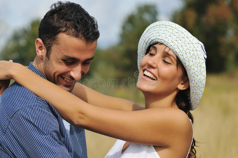 Happy Young Couple Have Romantic Time Outdoor Stock Photos
