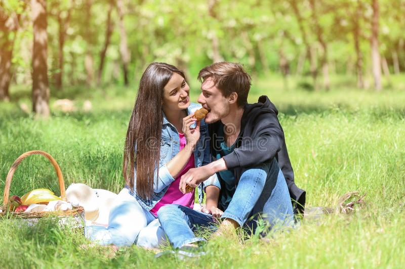 Happy young couple having picnic in green park royalty free stock photos