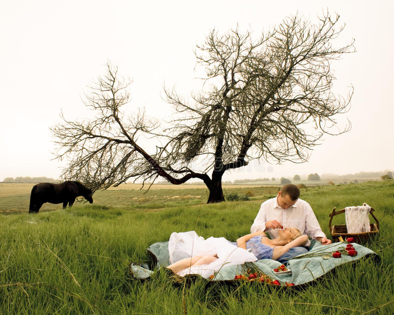 Happy young couple having a romantic picnic outdoors in green field stock photo