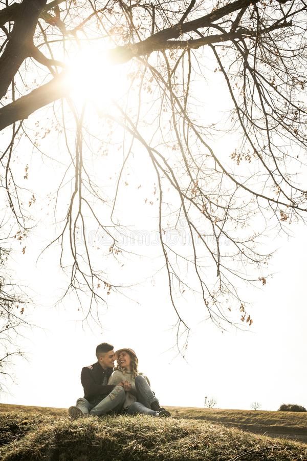 Happy young couple in hug. royalty free stock photos