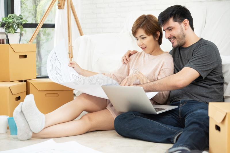 Young couple planning their new house. royalty free stock photos