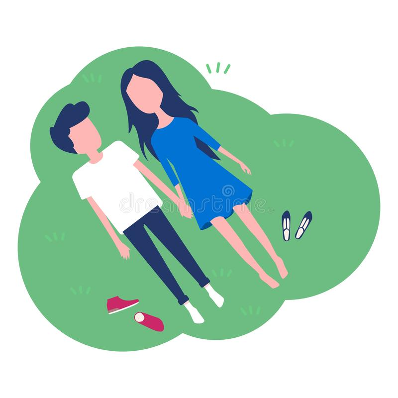 Happy young couple laying on green grass. vector illustration