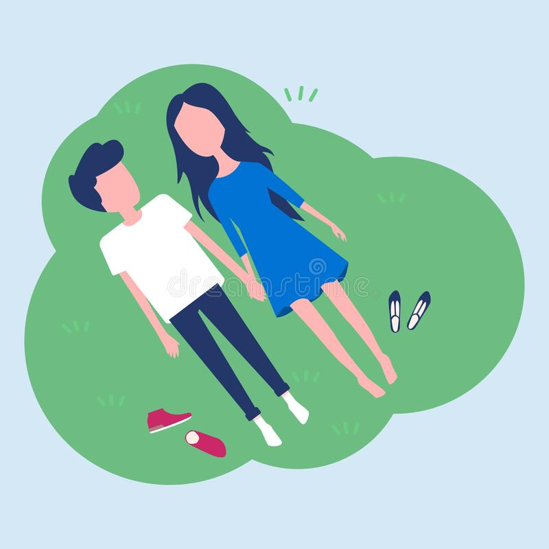 Happy young couple laying on green grass royalty free illustration