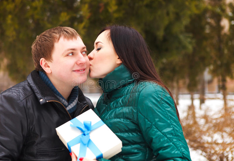 Download Happy Young Couple In Love With Present Stock Photo - Image: 34350992