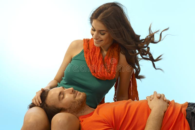 Download Happy Young Couple With Man In Lap Of Girlfriend Stock Image - Image: 41082137