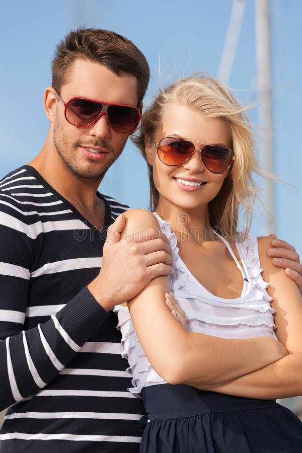 Download Happy young couple in port stock photo. Image of hugging - 38098586